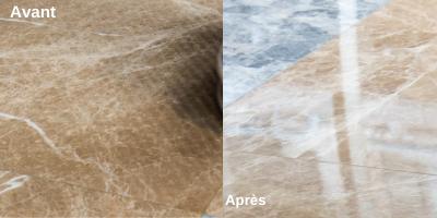 Traitement du marbre avant / après - Société de nettoyage NEOSIT Paris IDF